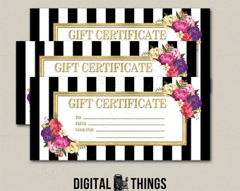 Faux Gold Foil Printable Gift Certificate Coupon Last Minute Gift Floral Printable PDF Digital Instant Download DT1923