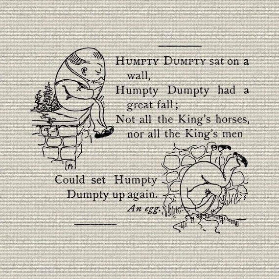Nursery Rhyme Humpty Dumpty Egg Decor Art Wall