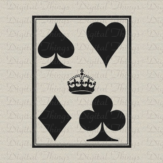 graphic relating to Printable Deck of Cards named Crown Taking part in Playing cards Card Suite Card Video game Wall Decor Printable Electronic Down load for Iron upon Go Tea Towel Cloth Pillows DT666