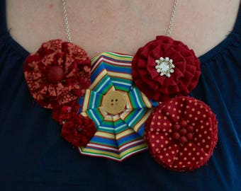 handmade rosette necklace