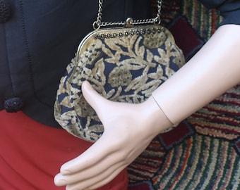Vintage Tan and Black Burnt Velvet Handbag