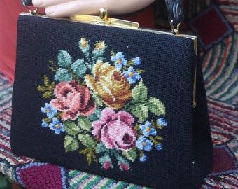 Vintage Needlepoint Floral Tapestry Bag