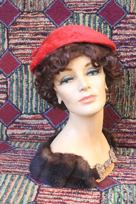 Vintage Red Fur Felt Saucer Hat