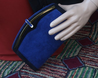 Vintage Blue and Navy Suede Clutch with Shoulder Chain