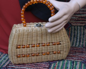 Vintage Wicker Thornton Bag with Lucite Bead Handle and Trim