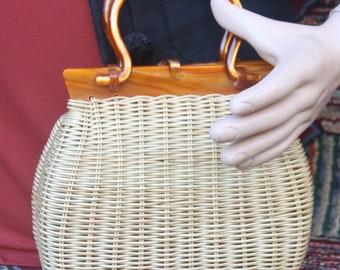 Vintage Stylecraft Plastic Straw Handbag With Lucite Handles