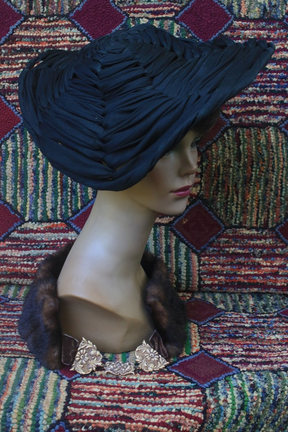 Vintage Black Woven Fabric Saucer Hat
