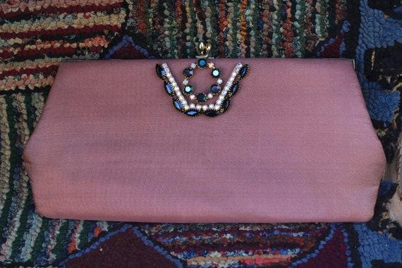 Vintage Handtrimmed Dusty Rose Clutch Purse - image 6