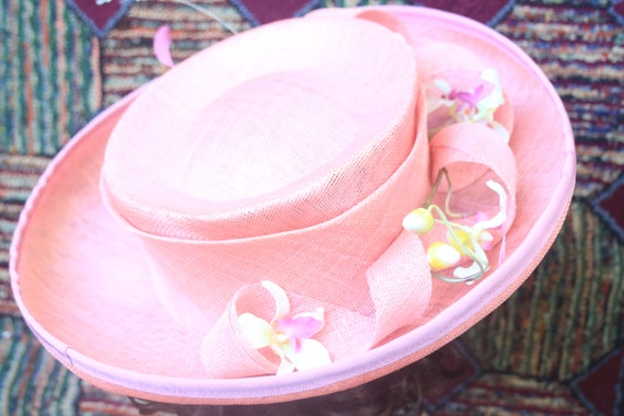Extra Wide Brim Sun Hat Embellished with Pink Ribbon and Pink Flower Detail