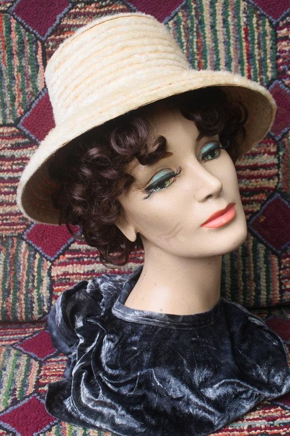 Vintage Cream Color Flocked Straw Hat