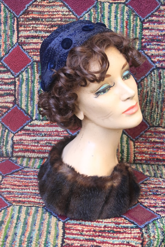 Vintage Navy Calot Hat with Velvet Buttons