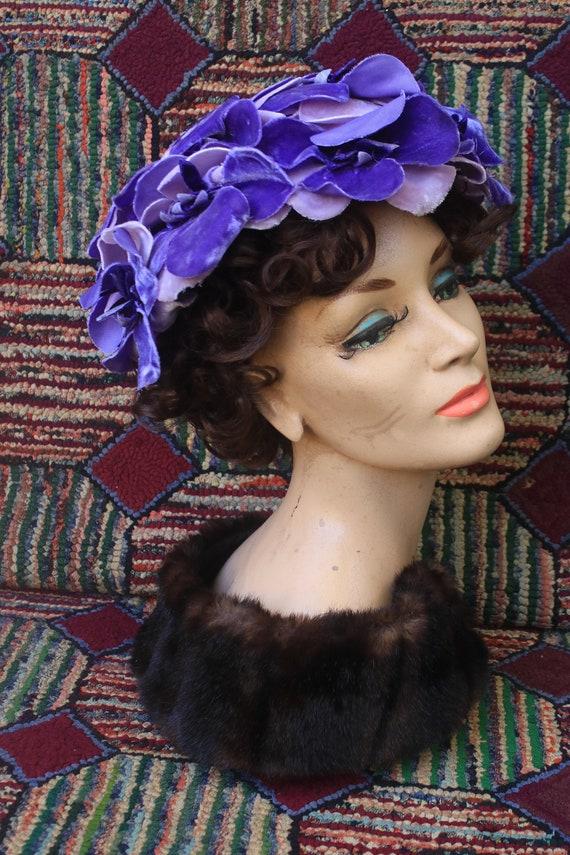 Vintage Velvet Purple Flower Hat