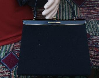 Vintage Black Fabric Lewis Handbag