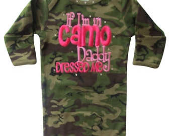 Camo Gown with Hot Pink Tutu Ruffles If I'm in Camo Daddy Dressed Me camo baby gift, baby girl camo, newborn baby girl