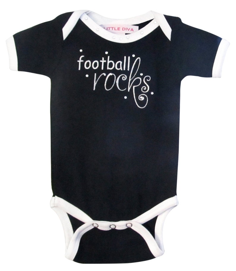 26c1b4910 Football Rocks Black and White Onesie newborn baby girl | Etsy