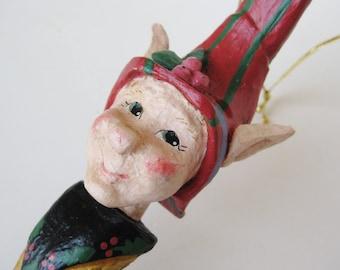 "Vintage 1994 House of Hatten 9"" Christmas Elf Large Ornament Figurine"
