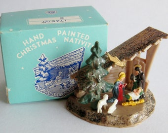 Vintage 50s Miniature Plastic Nativity Scene Display Figurine with Original Box
