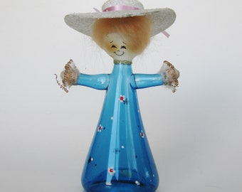 Vintage Hand Blown Italian Art Glass Blue Lady with Hat Christmas Tree Ornament