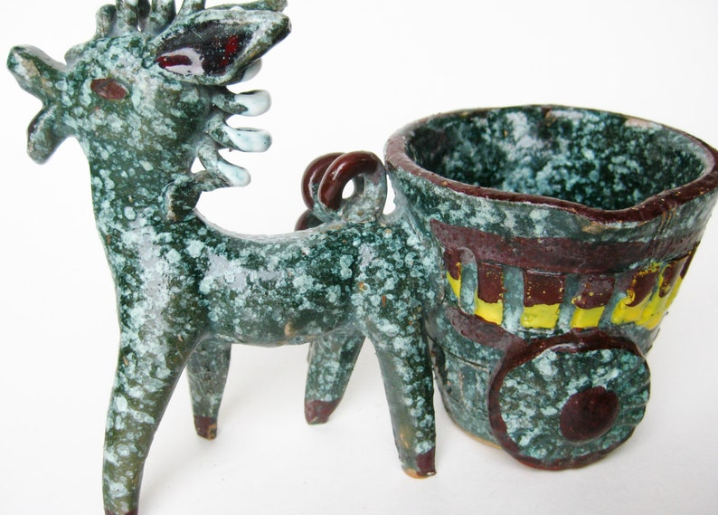 Vintage 50s Italian Gambone Era Ceramic Art Pottery Donkey /& Cart Figurine Sculpture