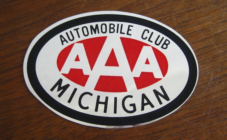Aaa Auto Club Near Me >> Vintage 50s Aaa Automobile Club Michigan Mirrored Decal Car Etsy