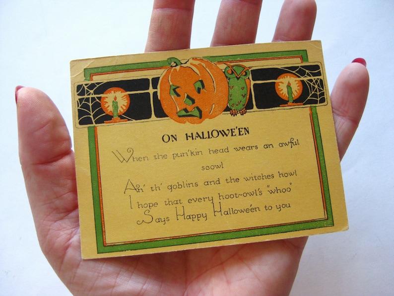 Vintage 20s Halloween Jack-o-Lantern Owl Greeting Card