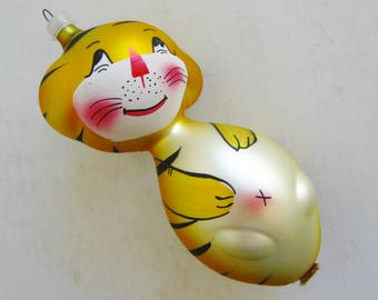 Vintage Hand Blown Glass Tiger Christmas Ornament