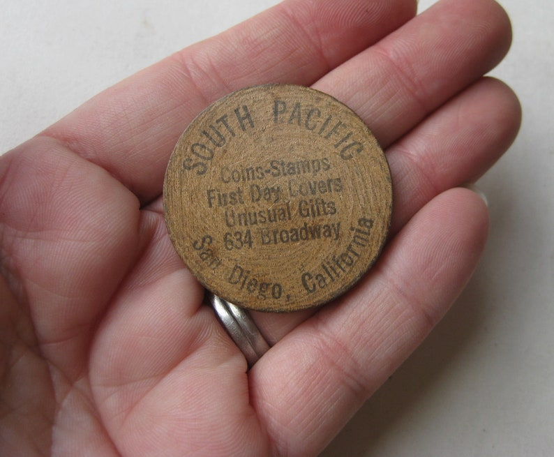 Vintage Downtown San Diego Gift Shop Souvenir South Pacific Wooden Nickel Token Coin Advertising Promo