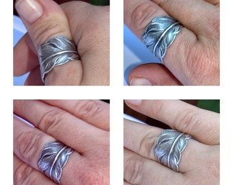 Women or Men silver ring. Silver feather Thumb ring size 4 4.5 5 5.5 6 6.5 7.5 8.5 9.5 10.5 11.5 12.5 14 Couples matching ring Silver plated