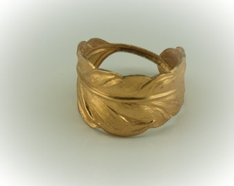 GOLD Feather RING unisex. In Silver too. Women or Men. Adjustable for thumb ring too. 4, 5, 6, 7, 8, 9. 10, 11, 12, 13, 14 Thumb Ring Brass