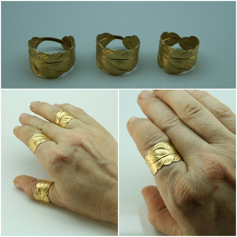 1a8623cc6834d GOLD Feather RING mens and womens Size 4, 5 6 7 8 9 10 11 12 13 up to 14.  Casual or weddings promise ring Matching couples ring. Thumb ring