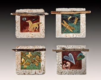 4 inch stone tile w horse, butterfly, hearts and dragonflies