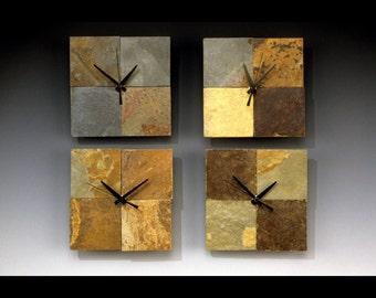Eight inch square checker slate clock