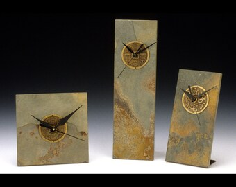 """Fortune Coin Slate clock for wall 6""""x6"""", 3 -3/4""""x 11- 3/4"""" or desk 3- 3/4"""" x 7"""""""
