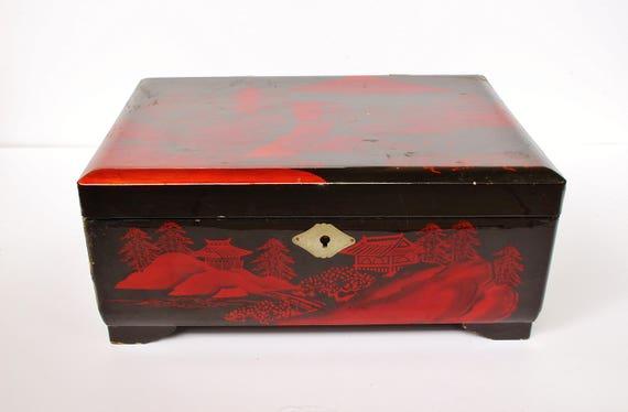 Vintage Retro japonés Japón caja de laca negro rojo pintado  b6da892e4b1