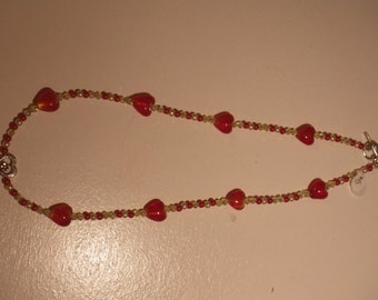 Red and Yellow Heart Beaded Necklace