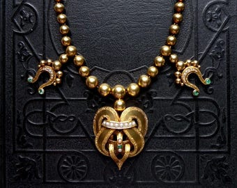 Victorian 14k Gold Emerald and Pearl Necklace with Knots and Pendant Hook