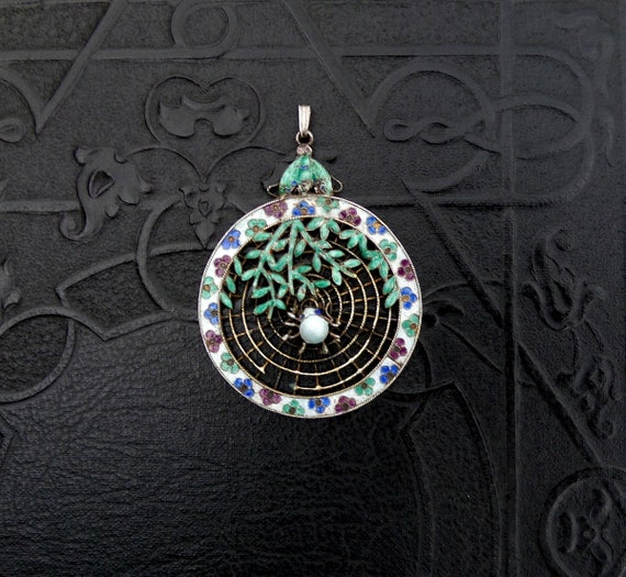 Chinese Enamel Silver Spiderweb Pendant Necklace