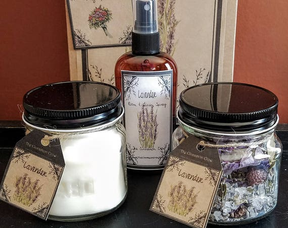 Hand Made Spring Flowers Gift Box ~ Hand Poured Soy wax candle~ Room Spray ~ Jar Potpourri~Lavender