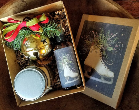 Holiday Gift Box ~ Hand Poured Soy wax candle~ Room Spray ~ Jingle Bell Ornament