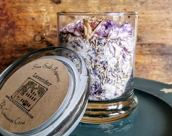 Lavender scented sea salt jar potpourri