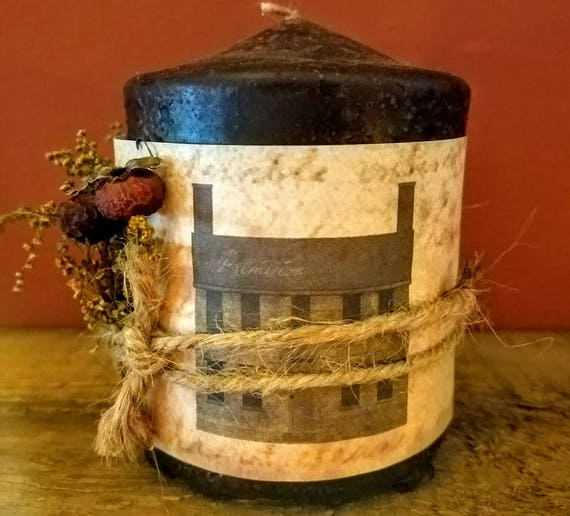 Country Prim pillar candle
