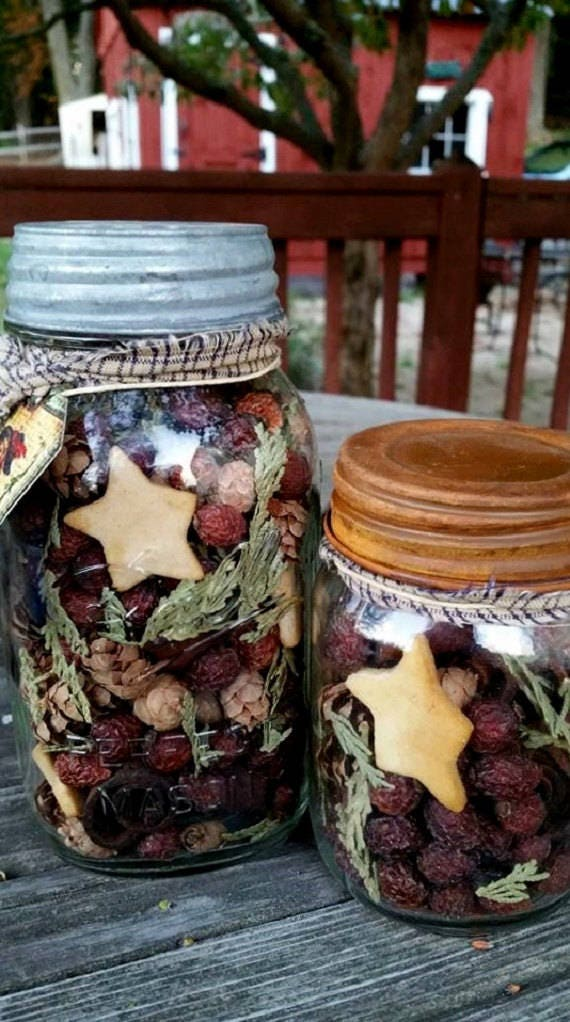 Primitive Rose hip Potpourri in rustic mason pint jar