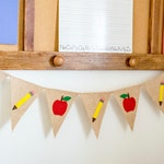 Back to School Banner - School Banner - Classroom Decor - Teacher Banner - Teacher Decor - Teacher Gift - Apple Pencil Banner - Name Banner