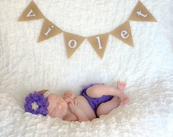 Personalized Bassinet Banner - Newborn Photo Prop - Newborn Name Banner - Mini Name Banner - Hospital Bassinet Name Banner - Newborn Photos