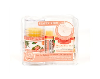 ON SALE - Peachy Keen Set - All Natural Body Product Travel Pack - Lotion, Lip Balm, Deodorant