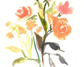 watercolor floral splash/Giclee Fine Art Print-// Original painting in watercolor on cold pressed watercolor paper