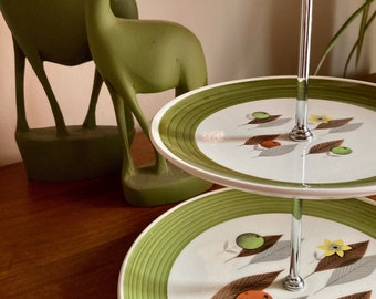 1950s - Palissy - Royal Worcester - Seville Orange Grove - 2-tier cake stand