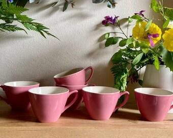 Midwinter - Set - 6 x Coffee Cups - Breakfast Set (Jug and Bowl) - Stylecraft - Fashion Shape - Pink - 1960s