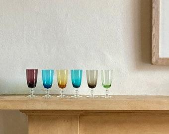Harlequin Glasses, Set of 6, Sherry, Liqueur, Mid-century