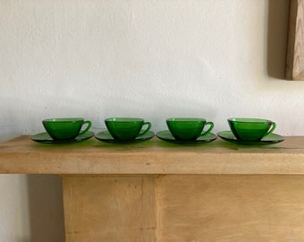 Vereco - Espresso Cups and Saucers - Set of 4 - French - 1960s - Green